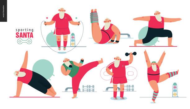 stockillustraties, clipart, cartoons en iconen met sportieve santa - gymnastiek oefeningen - kickboksen