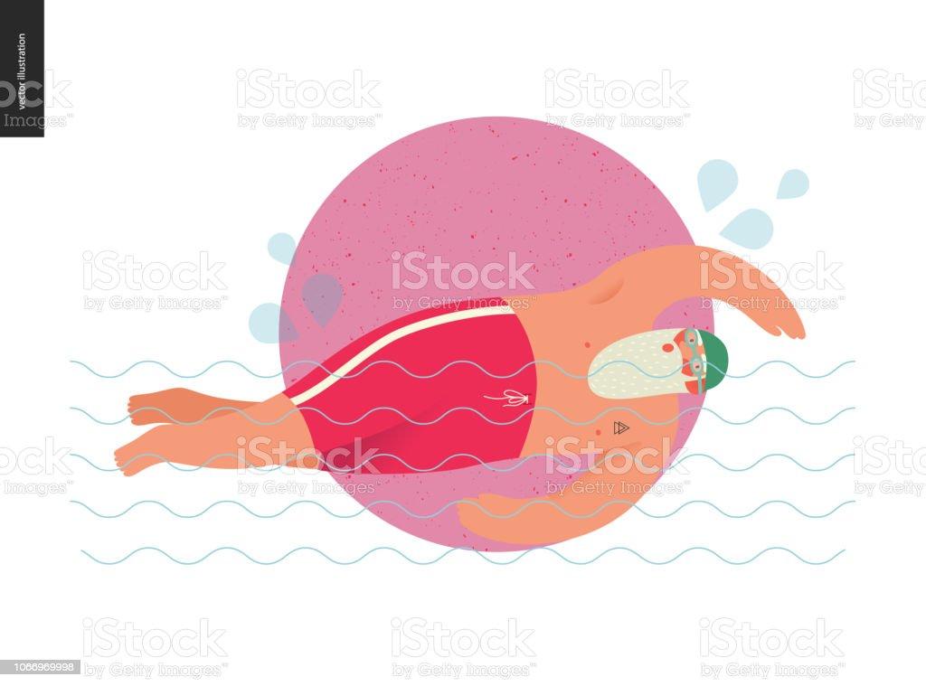 Sporting Santa - pool swimming vector art illustration