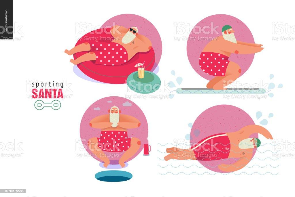 Sporting Santa - winter water activity vector art illustration