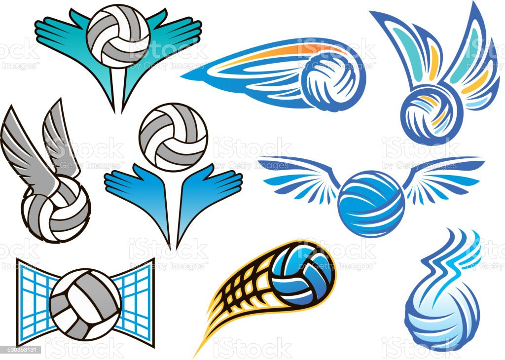 Sporting volleyball emblems and designs vector art illustration