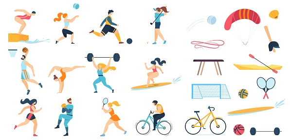 Sportive People Characters Set and Sport Equipment
