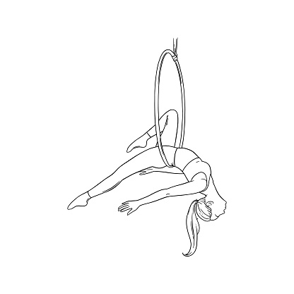 Sportive woman performing aerial dance in the hoop. Woman acrobat in the ring. Vector illustration