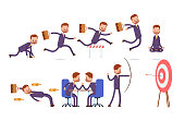 sports achievements, ready at the start, run, jump over obstacles, meditation, dodges, competes. businessman. cartoon character set