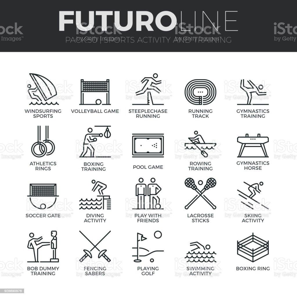 Conjunto de ícones de linha do Futuro de atividade de esportes - ilustração de arte em vetor