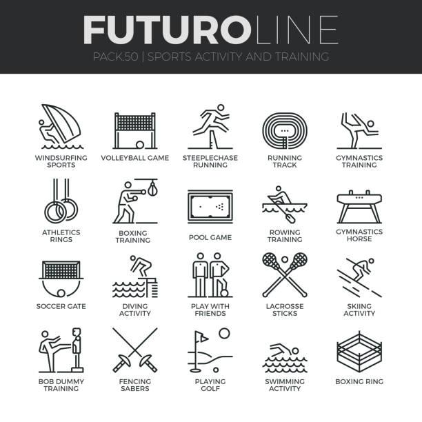 ilustrações de stock, clip art, desenhos animados e ícones de sports activity futuro line icons set - jump pool, swimmer