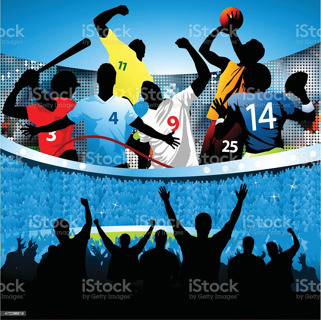 Sports all stars vector art illustration