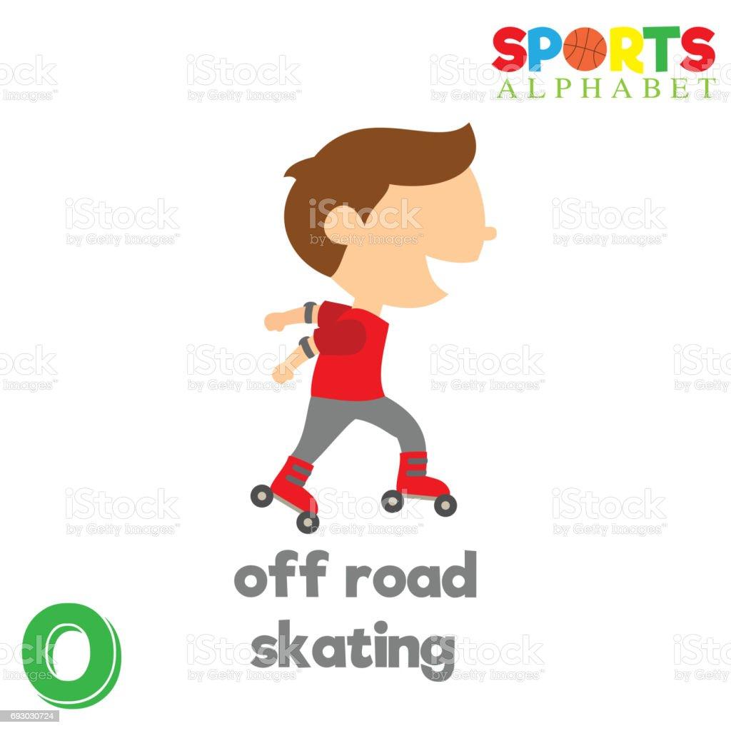 Alfabeto de esportes com O letra - ilustração de arte em vetor