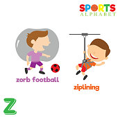 Sports Alphabet with Z Letter