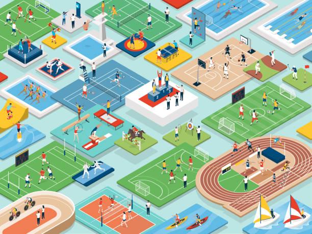 sport i sportowcy międzynarodowe zawody - rzut izometryczny stock illustrations