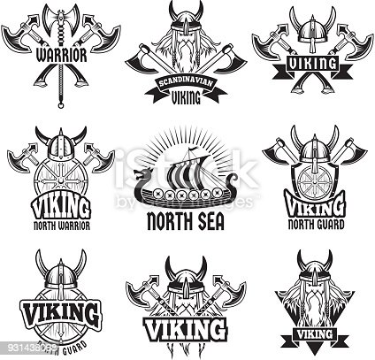 Sports And Battle Badges And Labels With Vikings And Barbarian ...