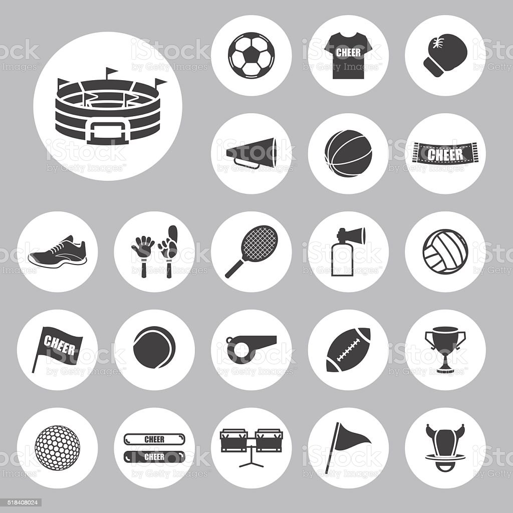 Sports  and cheer In the arena icons vector art illustration