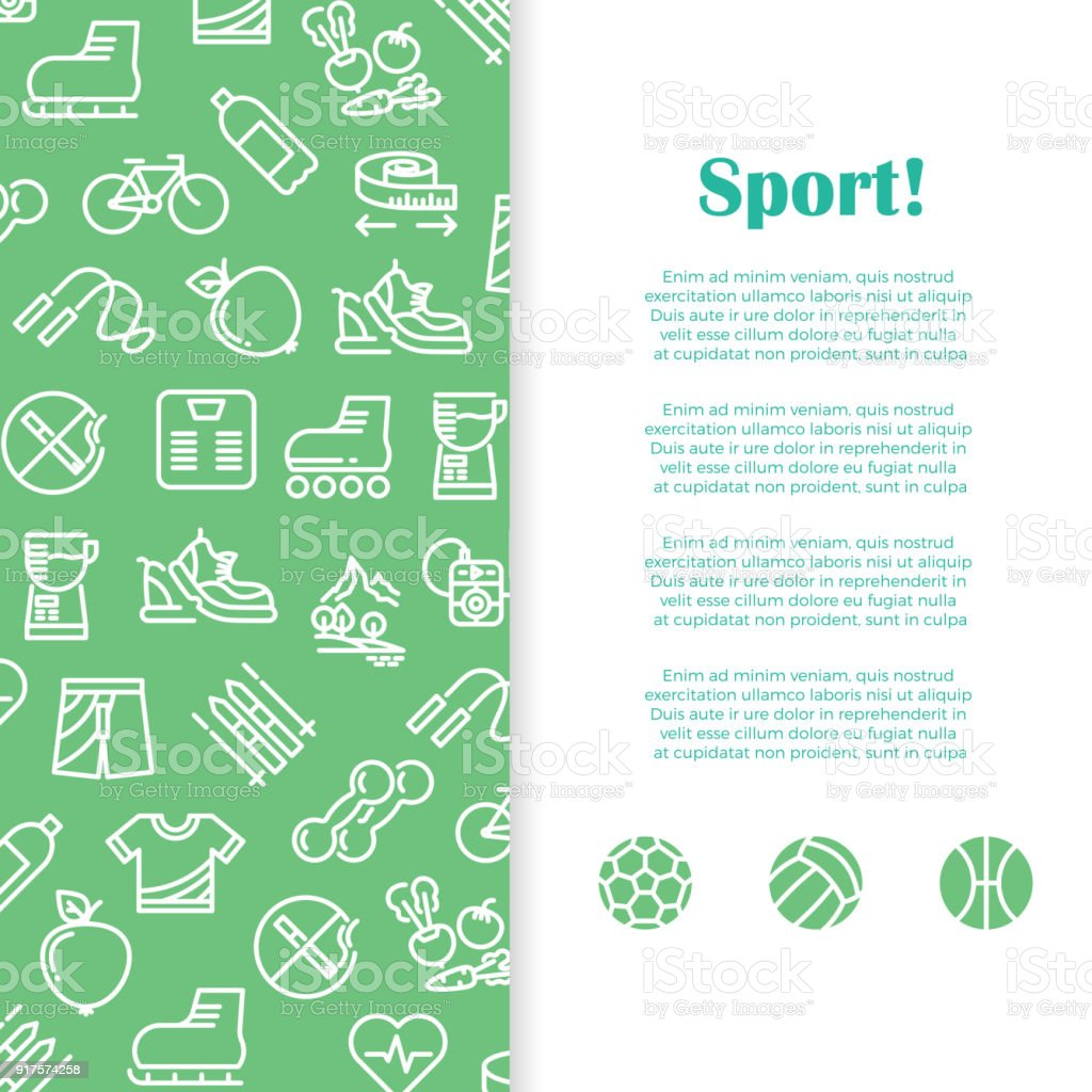 sports and fitness banner template with line icons stock vector art