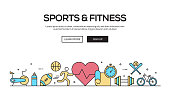 Sports And Fitness Flat Line Web Banner Design