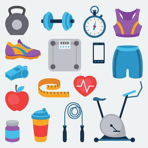 stockillustraties, clipart, cartoons en iconen met sports and fitness icons set in flat style. - sportkleding