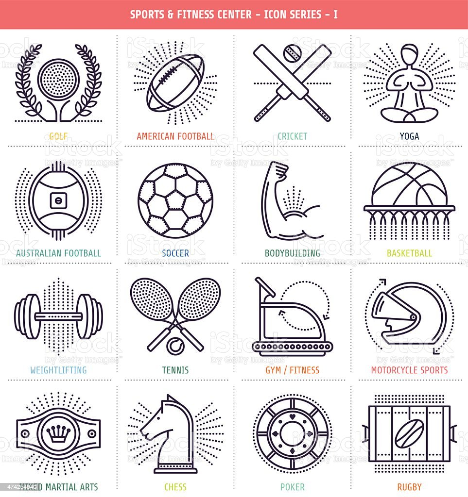 Sports and Fitness Icons vector art illustration