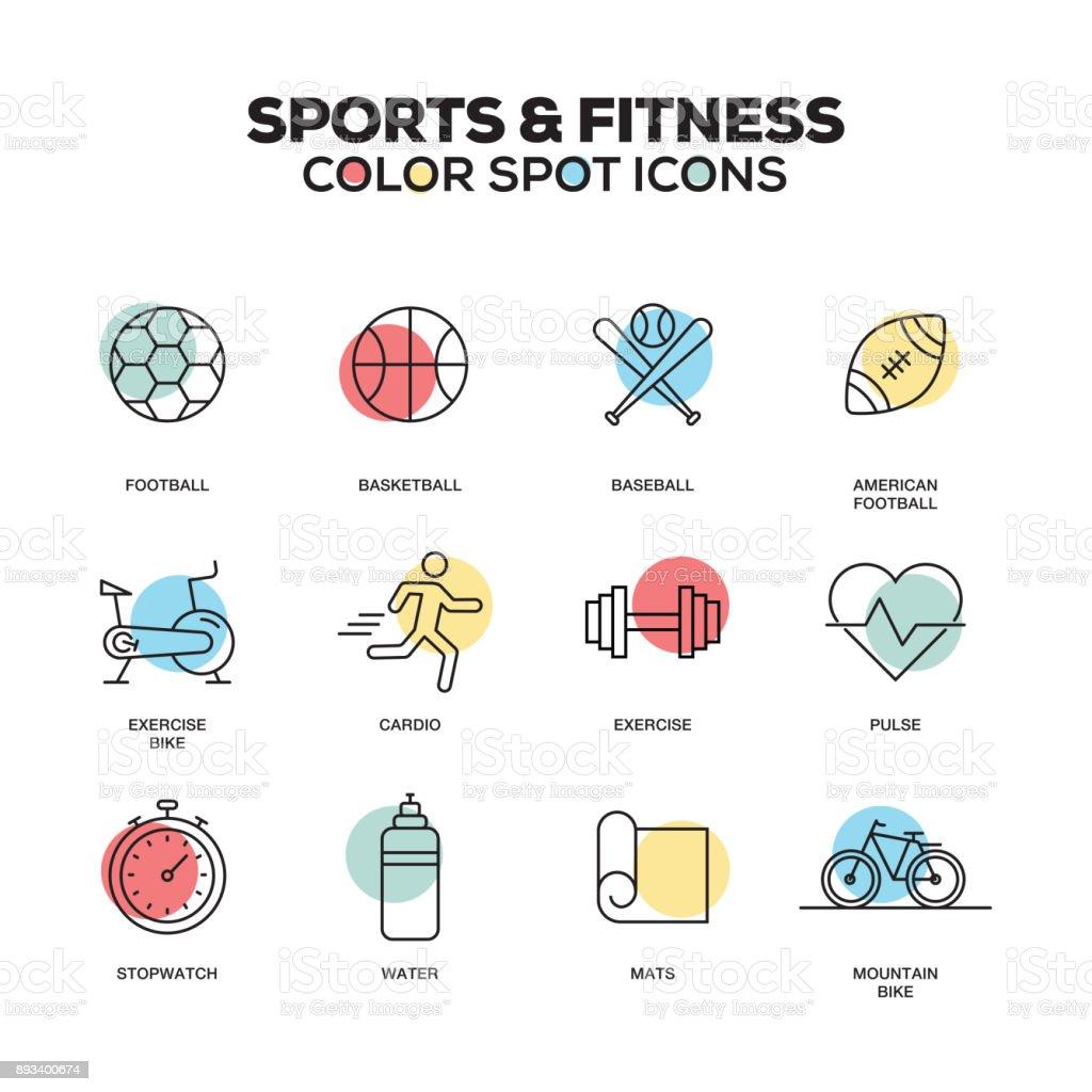 スポーツとフィットネスのアイコン。ベクター線のアイコンを設定します。プレミアム品質。モダンなアウトライン シンボルとピクトグラム。 ベクターアートイラスト