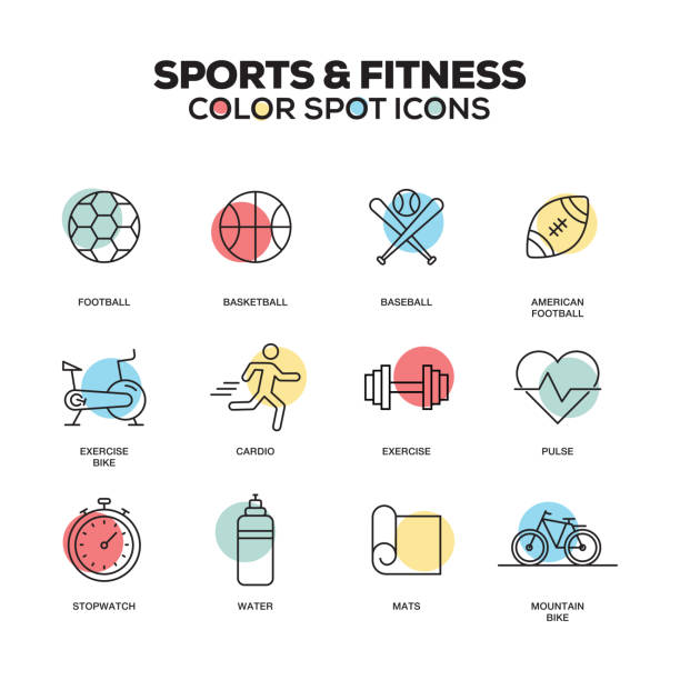 sports and fitness icons. vector line icons set. premium quality. modern outline symbols and pictograms. - personal trainer stock illustrations, clip art, cartoons, & icons