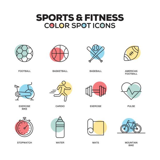 ilustrações, clipart, desenhos animados e ícones de esportes e fitness ícones. conjunto de ícones do vetor linha. qualidade premium. moderna estrutura de tópicos símbolos e pictogramas. - personal trainer
