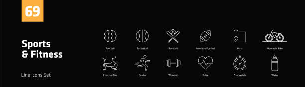 Sports and Fitness Line Icons Set vector art illustration