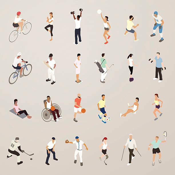 sports and fitness people - flat icons illustration - wheelchair sports stock illustrations, clip art, cartoons, & icons
