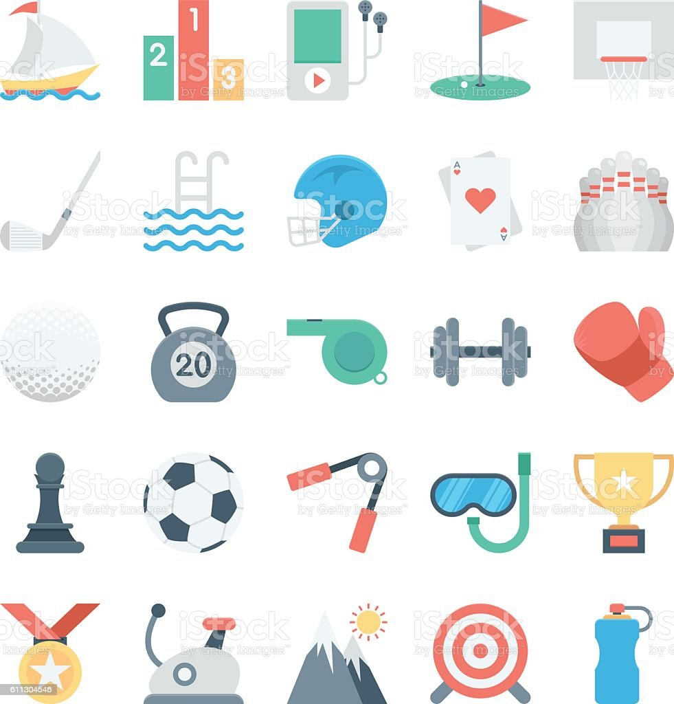Sports and Games Colored Vector Icons 2 vector art illustration