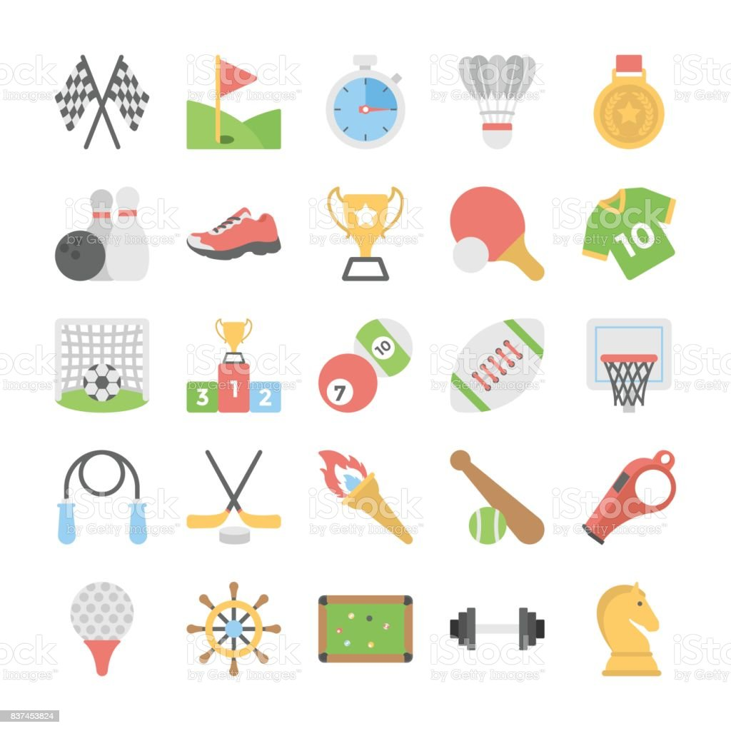 Sports and Games Flat Colored Icons 1 vector art illustration