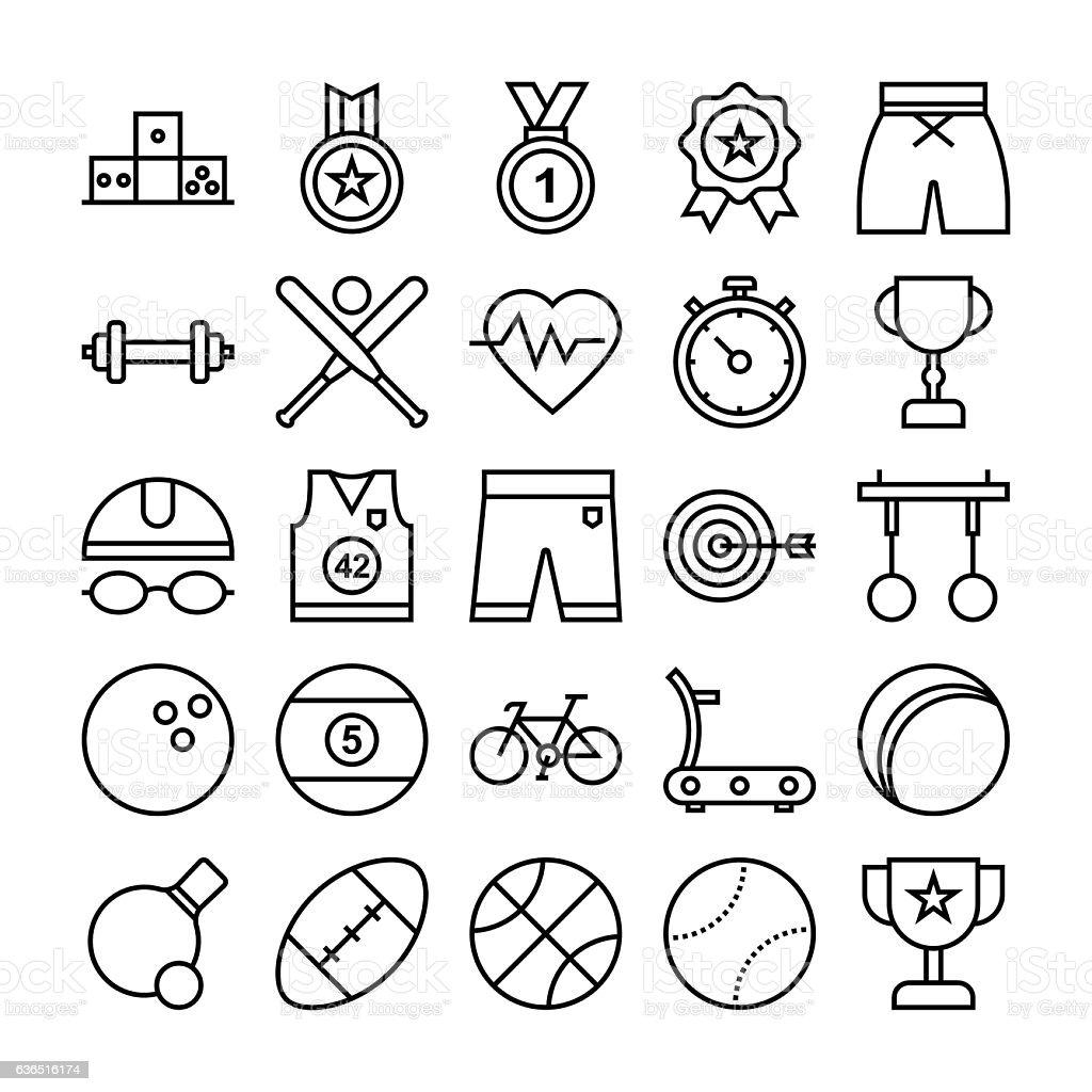 Sports and Games Vector Icons 2 vector art illustration