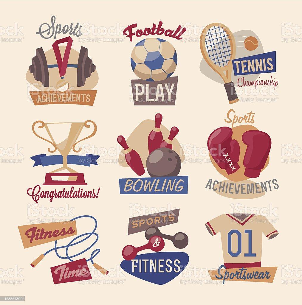 Sports and gym emblems vector art illustration
