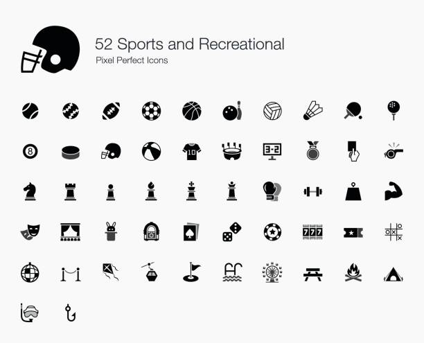 52 Sports and Recreational Pixel Perfect Icons vector art illustration