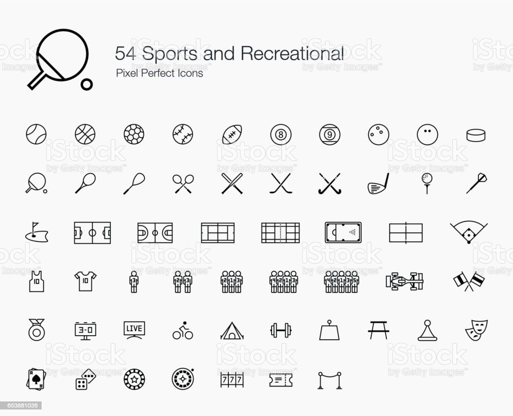 54 Sports and Recreational Pixel Perfect Icons (line style) vector art illustration