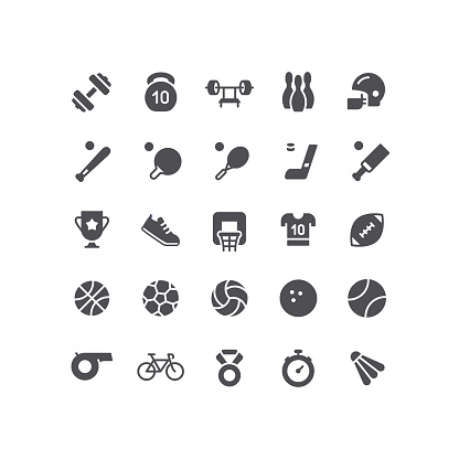 Sports and Sports Equipment Flat Icons Set