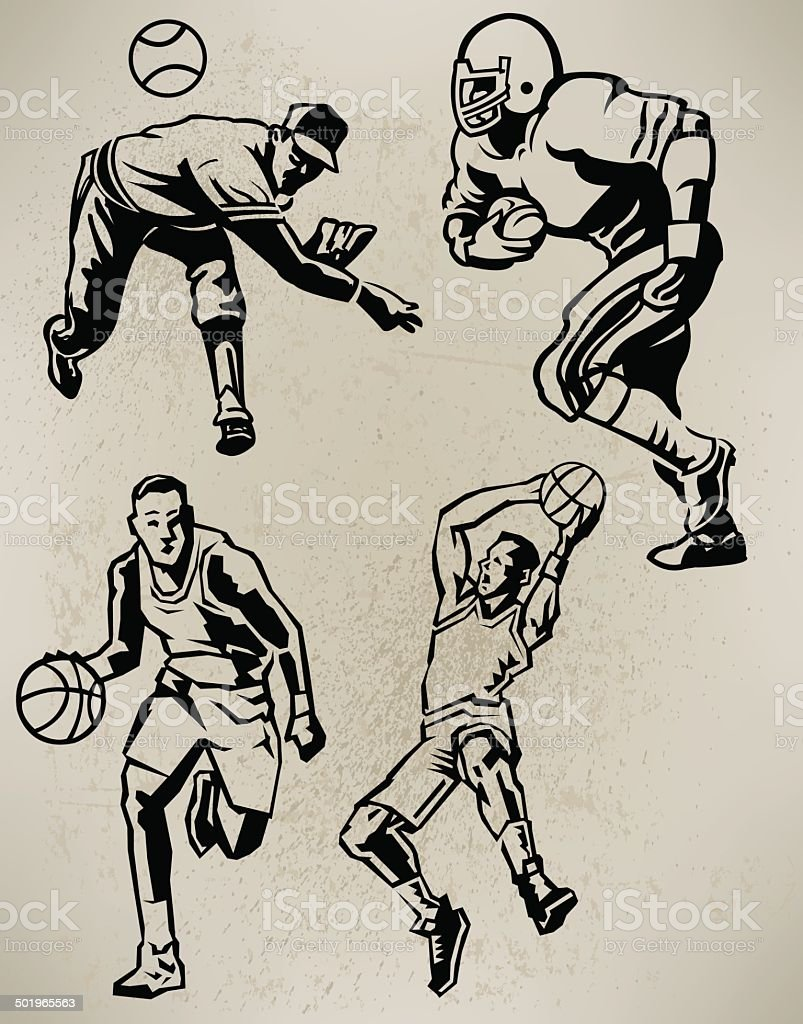 Sports Athletes - Football, Baseball, Basketball, Retro Style royalty-free stock vector art