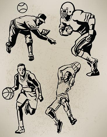 Sports Athletes - Football, Baseball, Basketball, Retro Style