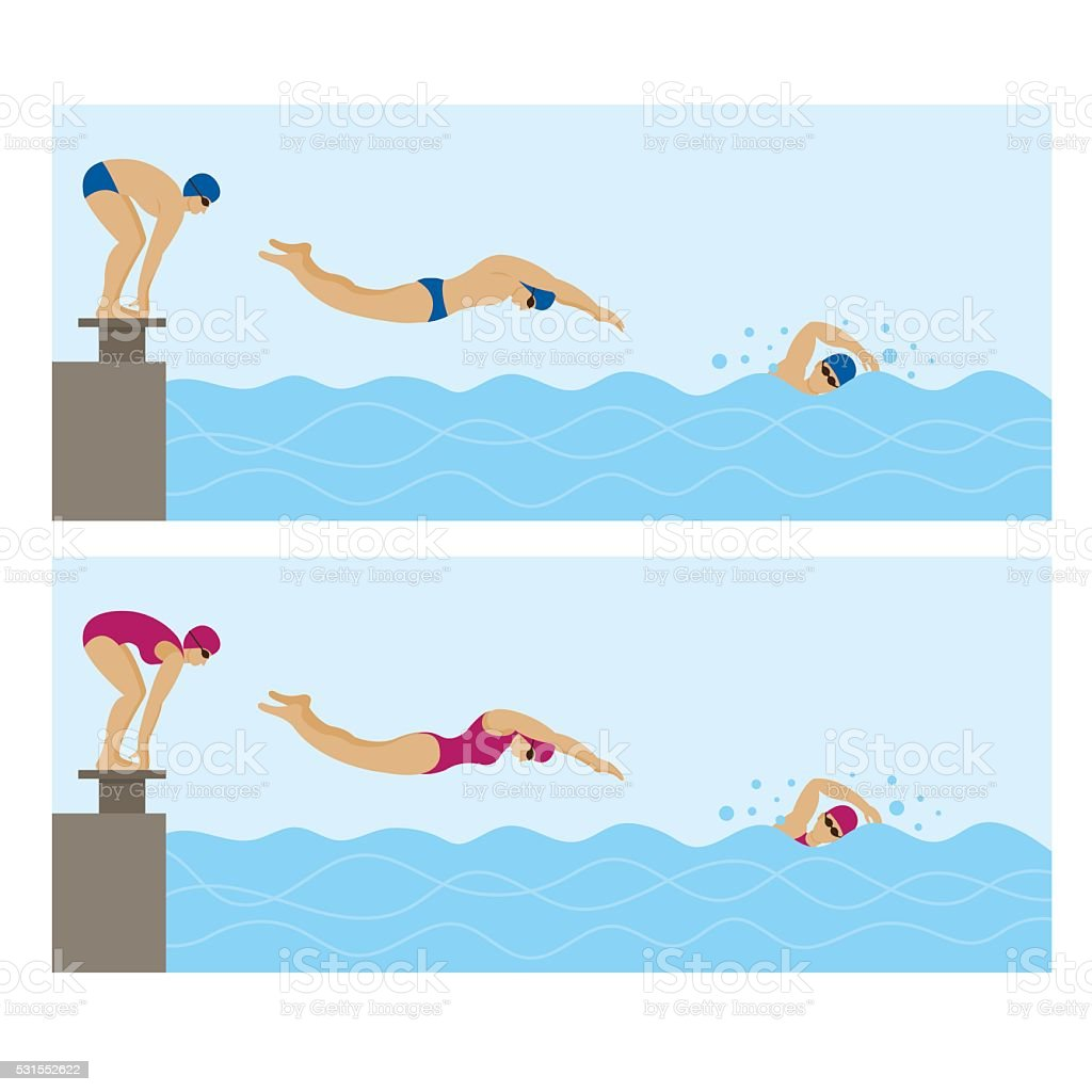 Sports Athletes, Swimming vector art illustration