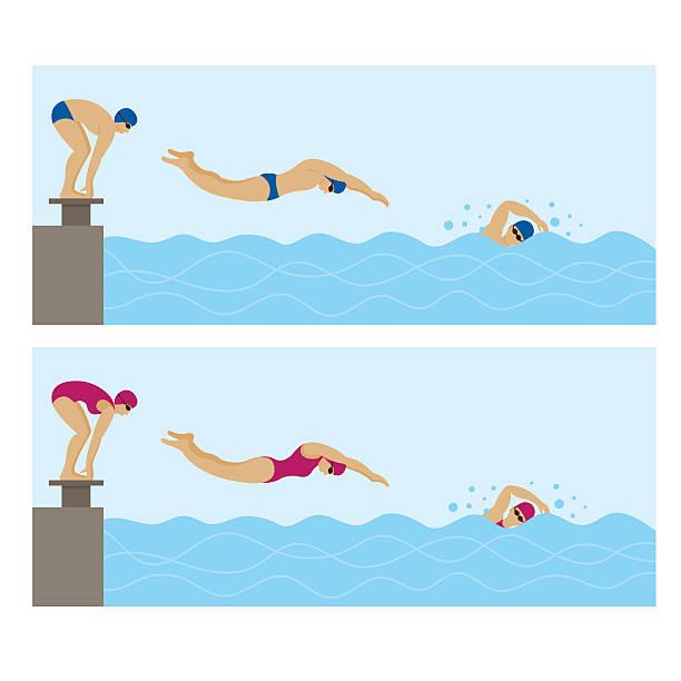 Sports Athletes, Swimming vector art illustration