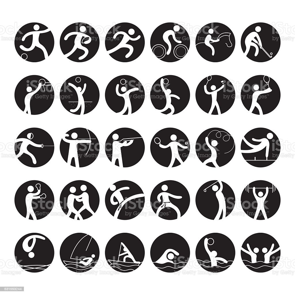 Sports Athletes, Symbol Icon Set vector art illustration
