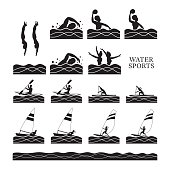 Sports Athletes, Water Sports Silhouette Set