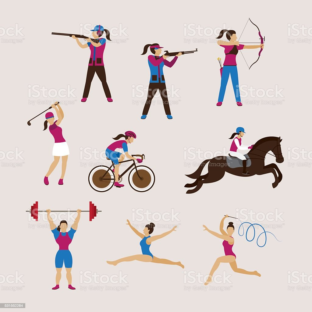 Sports Athletes, Women Set vector art illustration