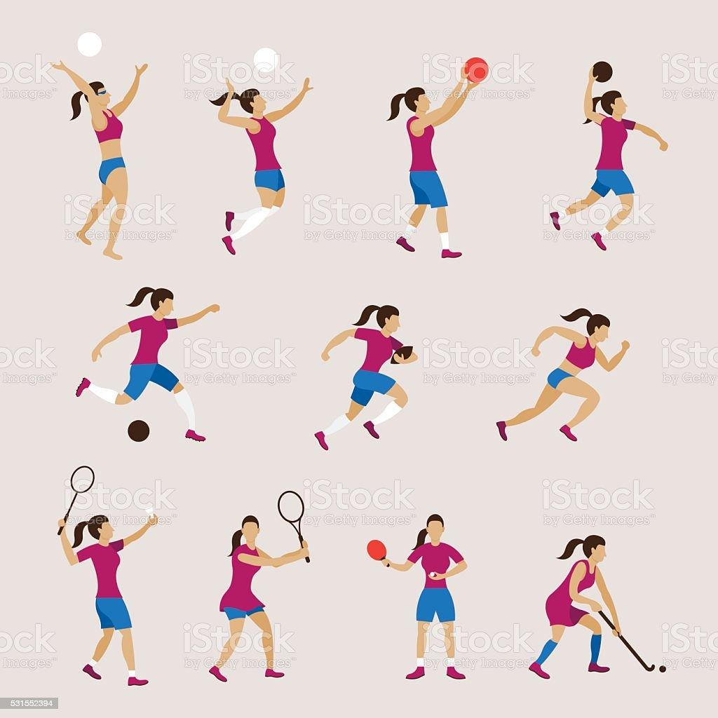 Des athlètes, des femmes ensemble - Illustration vectorielle