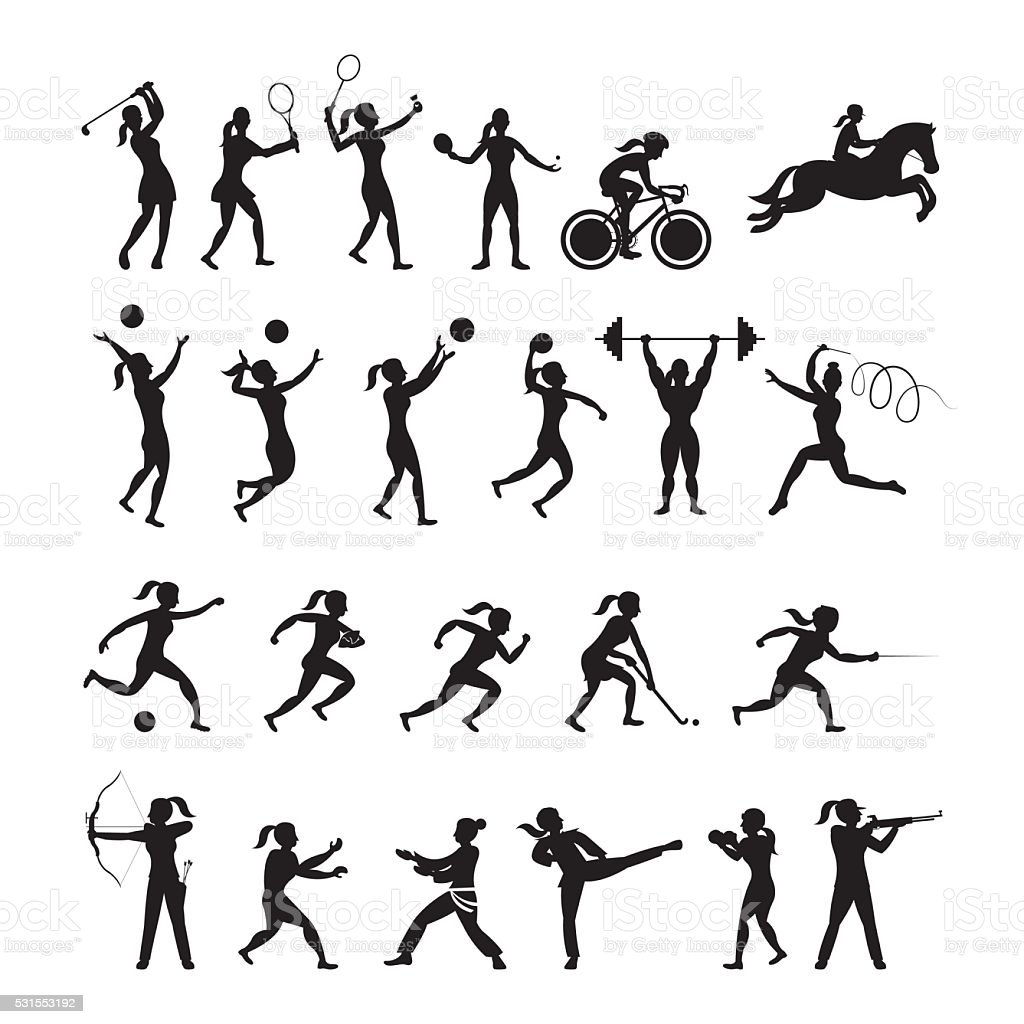 Sports Athletes, Women Symbol Silhouette Set vector art illustration