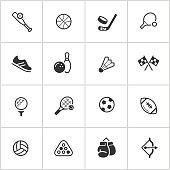Simple vector icon set representing common sports.