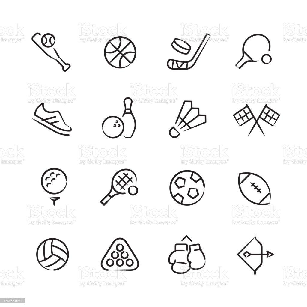 Sports & Athletics Icons — Sketchy Series vector art illustration