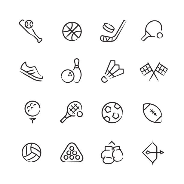 Sports & Athletics Icons — Sketchy Series Professional icon set in sketch style. Vector artwork is easy to colorize, manipulate, and scales to any size. shuttlecock stock illustrations