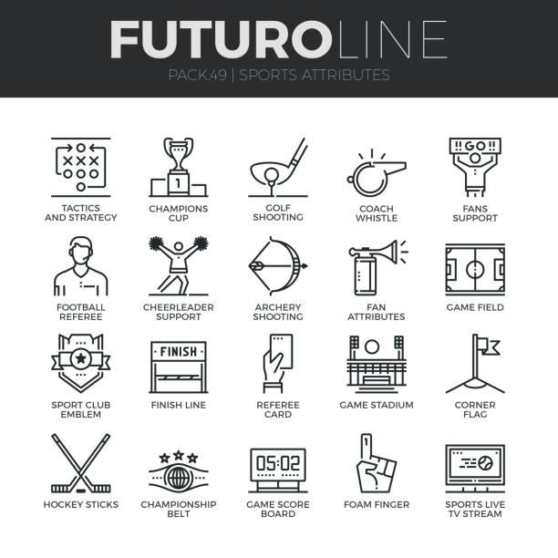 Sports Attributes Futuro Line Icons Set vector art illustration