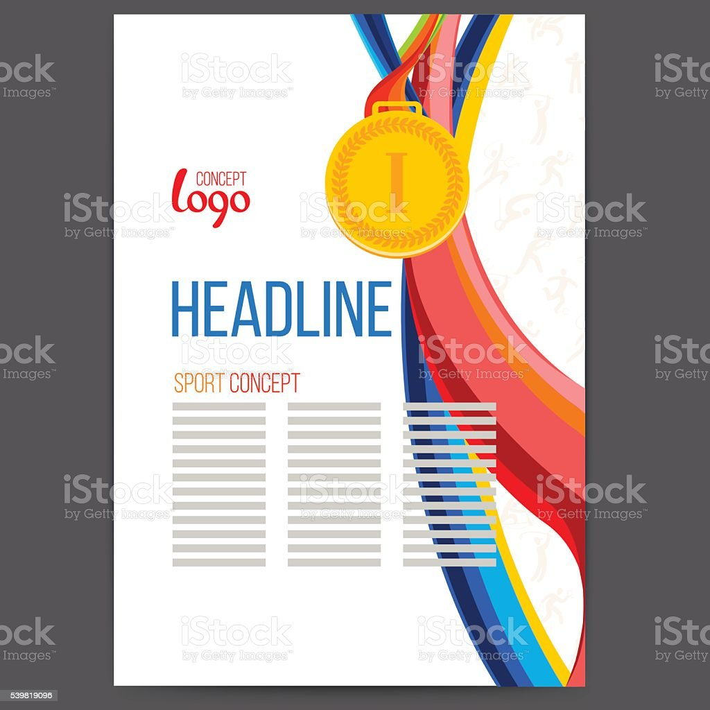 Sports award a gold medal at the background. vector art illustration