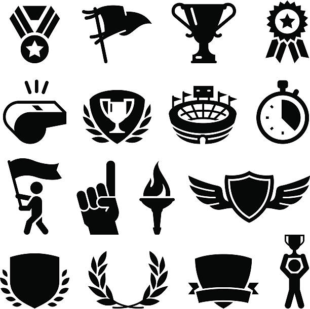Sports Awards - Black Series Athletic games and competition awards. Professional clip art for your print or Web project. See more icons in this series. stadium stock illustrations
