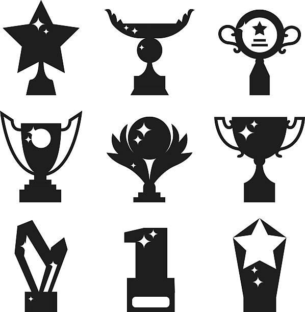 stockillustraties, clipart, cartoons en iconen met sports awards black silhouette vector illustration. - sportkampioenschap