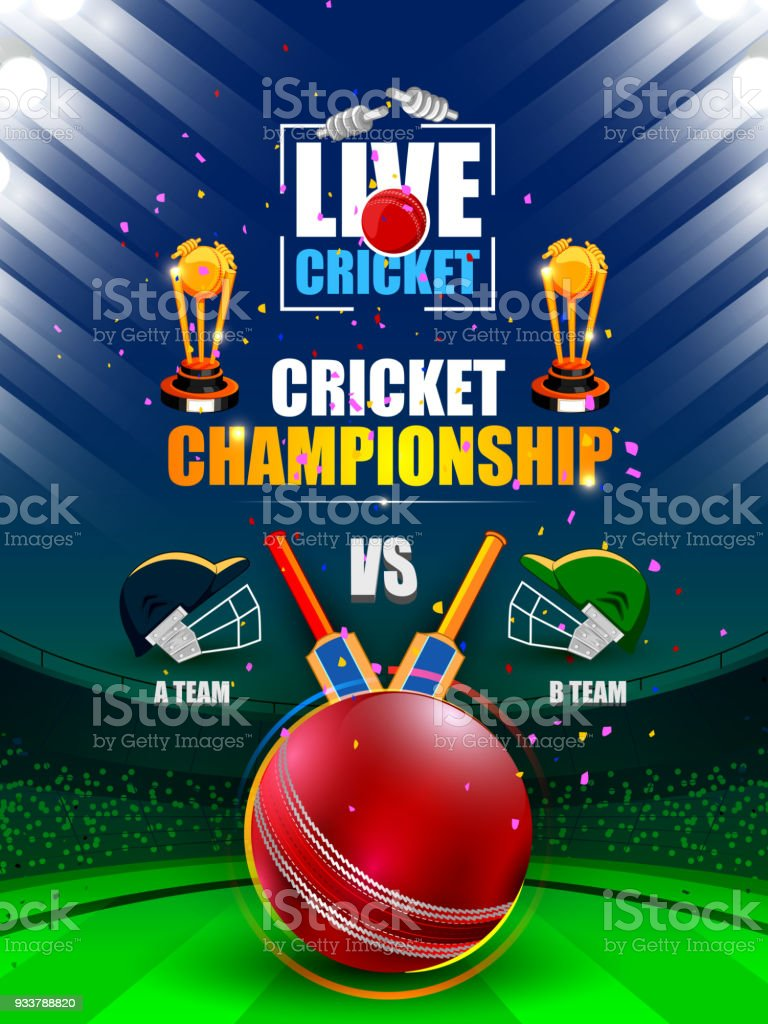 Sports background for the match of Cricket Championship Tournament vector art illustration