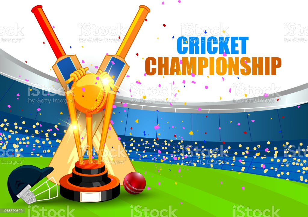 Cricket Vector Background Stock Image: Sports Background For The Match Of Cricket Championship
