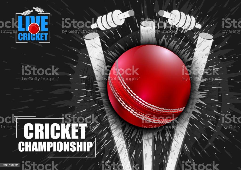 Fondo de deportes para el partido del torneo de Cricket - ilustración de arte vectorial